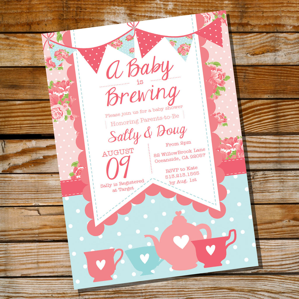 Baby is Brewing Baby Shower Invitation for a Girl