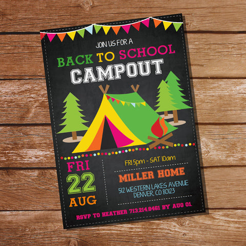 Back To School Campout Party Invitation