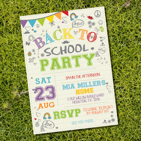 Doodle Back To School Party Invitation | Doodle Party Invitation