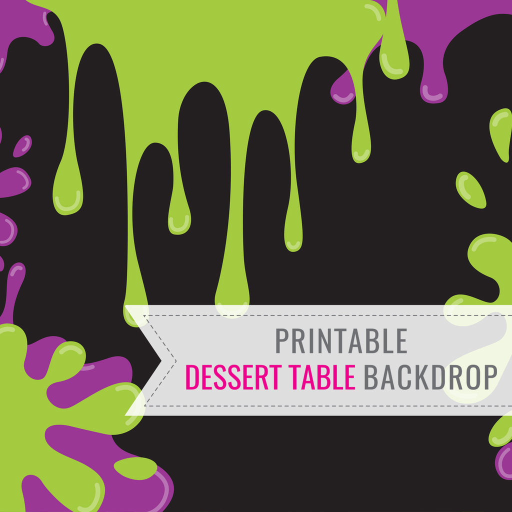Slime Party Dessert Table Backdrop