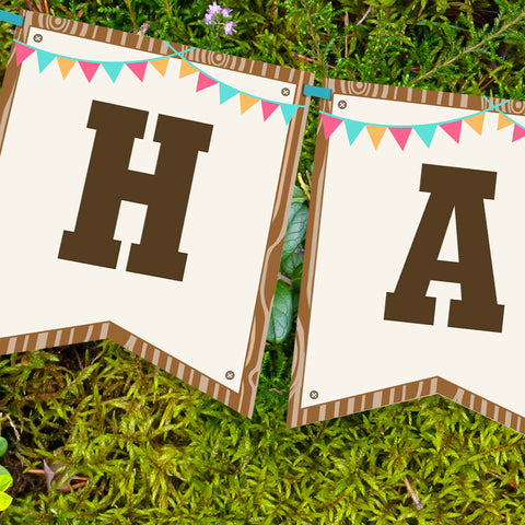 Backyard Camping Party Birthday Banner for a Girl | Camp Out Banner