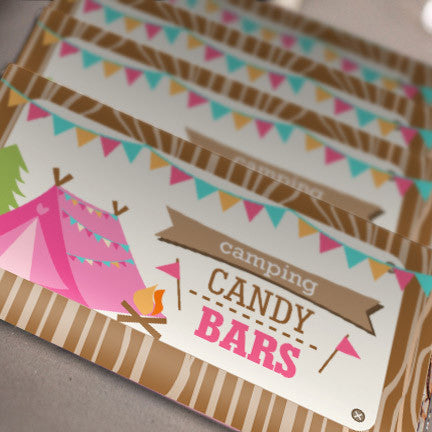 Backyard Camping Party Candy Bar Wrappers for a Girl