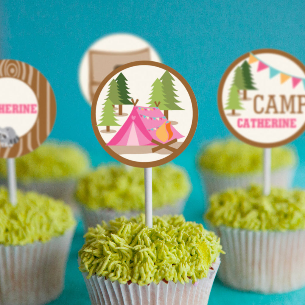Backyard Camping Party Cupcake Toppers | Summer Party Campout