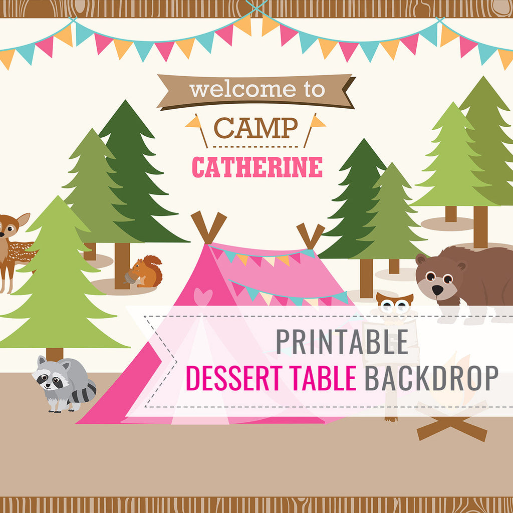 Backyard Camping Tent Party Dessert Table Party Backdrop For a Girl