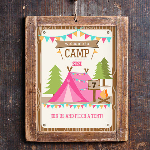 Backyard Camping Party Door Sign | Camp out Party Sign