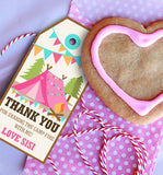 Backyard Camping Party Favor Tags for a Girl