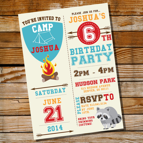 Backyard Camping Birthday Party Invitation for a Boy