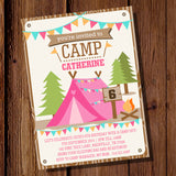 Backyard Camping Party Invitations for a Girl