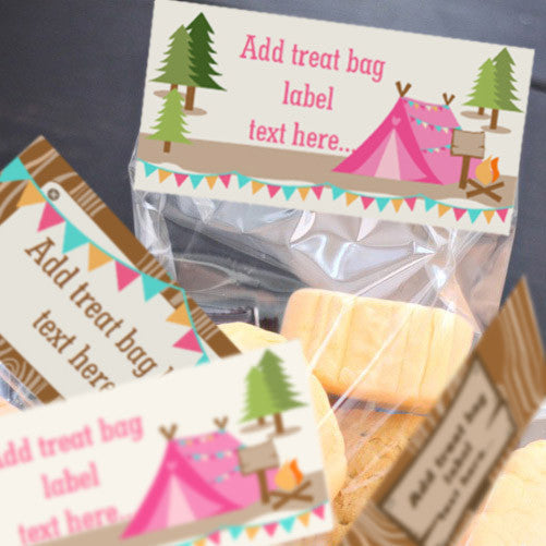 Backyard Camping Party Treat Bag Topper Labels | Treat Bag Toppers