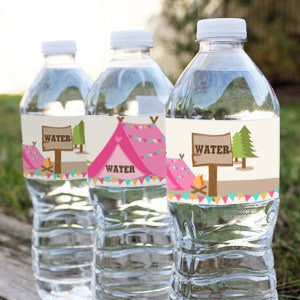 Backyard Camping Party Water Bottle Labels | Camp Out Drinks Labels