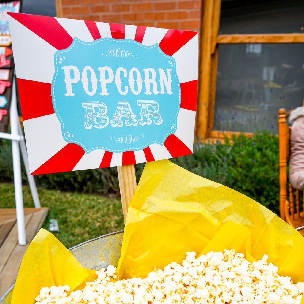 Backyard Carnival backyard carnival popcorn bar printable set | popcorn bar sign