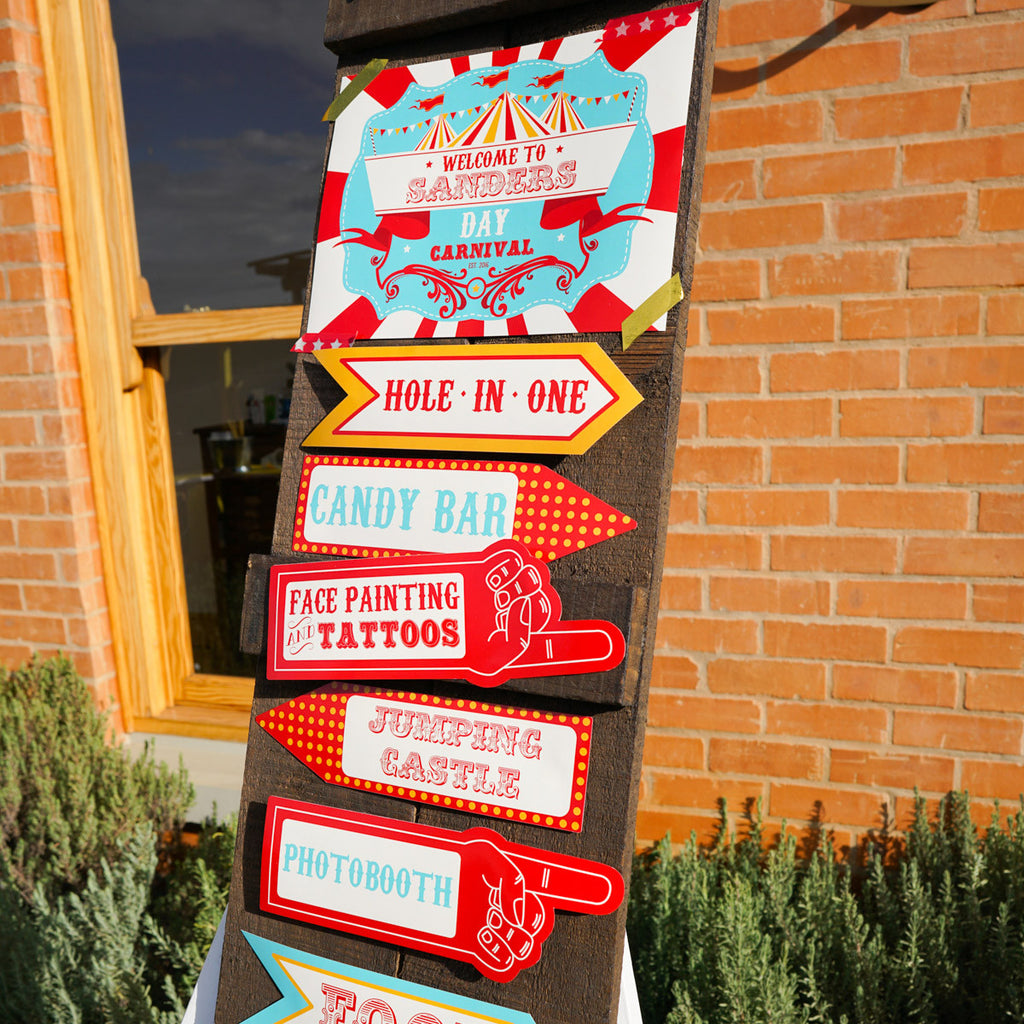 Backyard Carnival Party Welcome Sign