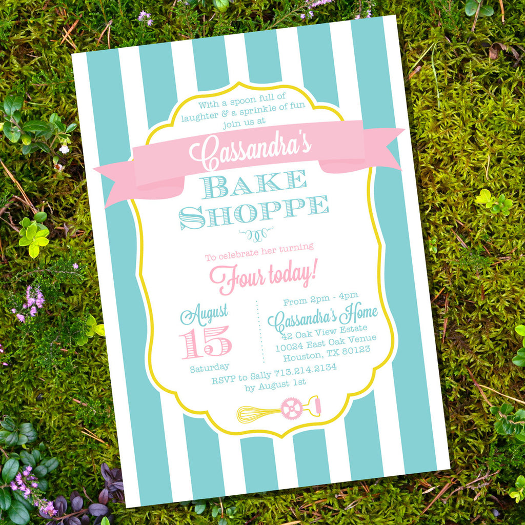 Bake Shoppe Birthday Party Invitation or Baker Baker Invite