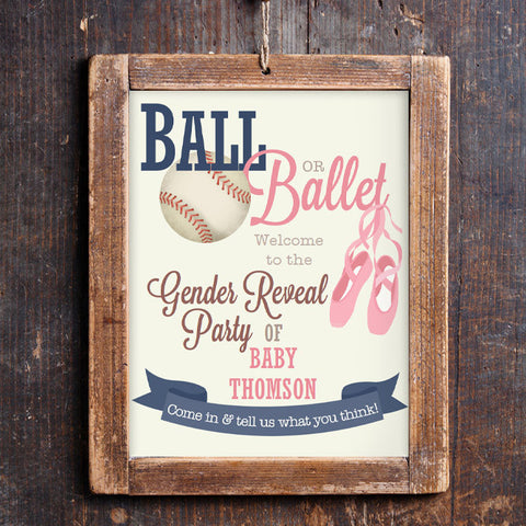 Baseball or Ballet Gender Reveal Welcome Sign | Ball Or Ballet