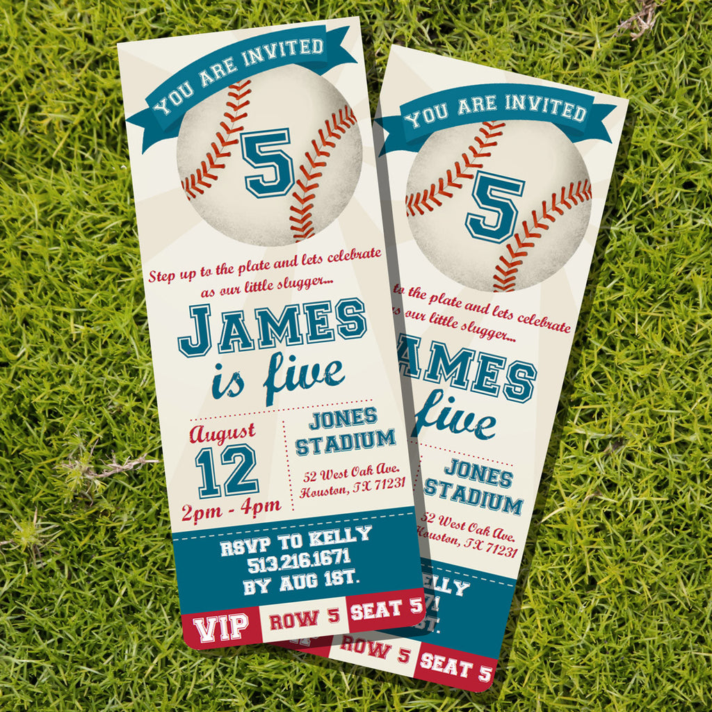 Baseball Ticket Party Invitation