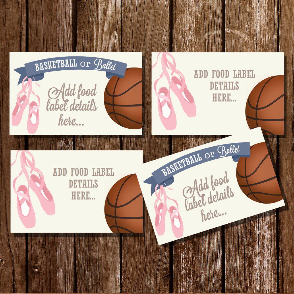 Basketball or Ballet Gender Reveal Food Label Tent Cards