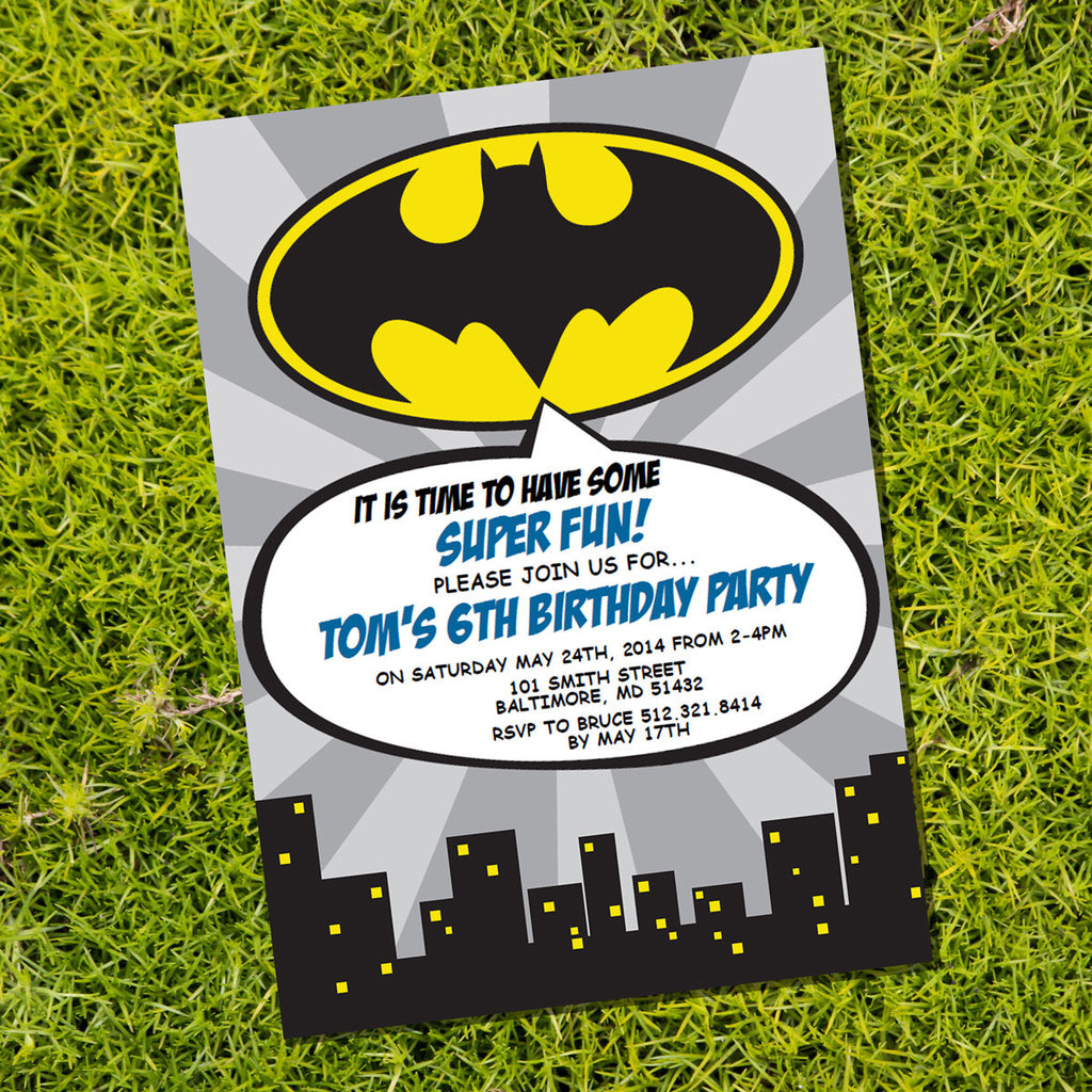 Batman Superhero Party Invitation