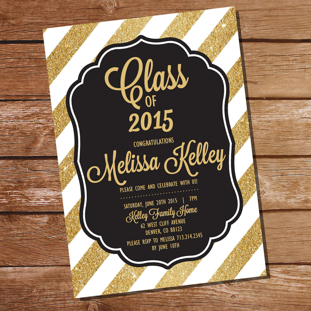 black and gold graduation invitation template sunshine parties