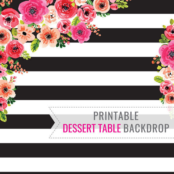Black and White Stripe Dessert Table Backdrop