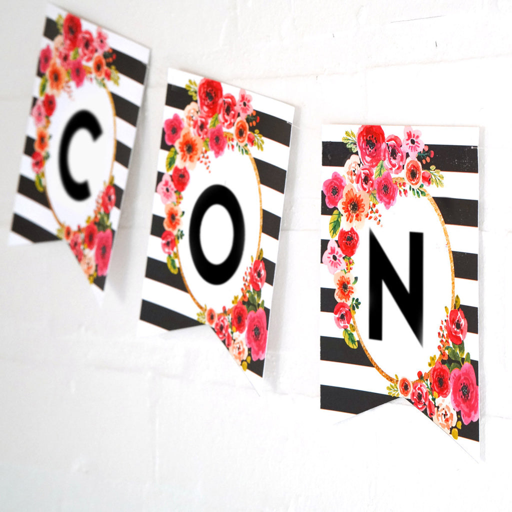 Black and White Stripe Graduation Banner