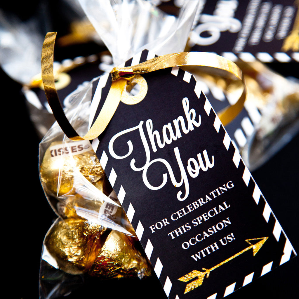Graduation party thank you favor tags in black, white and gold