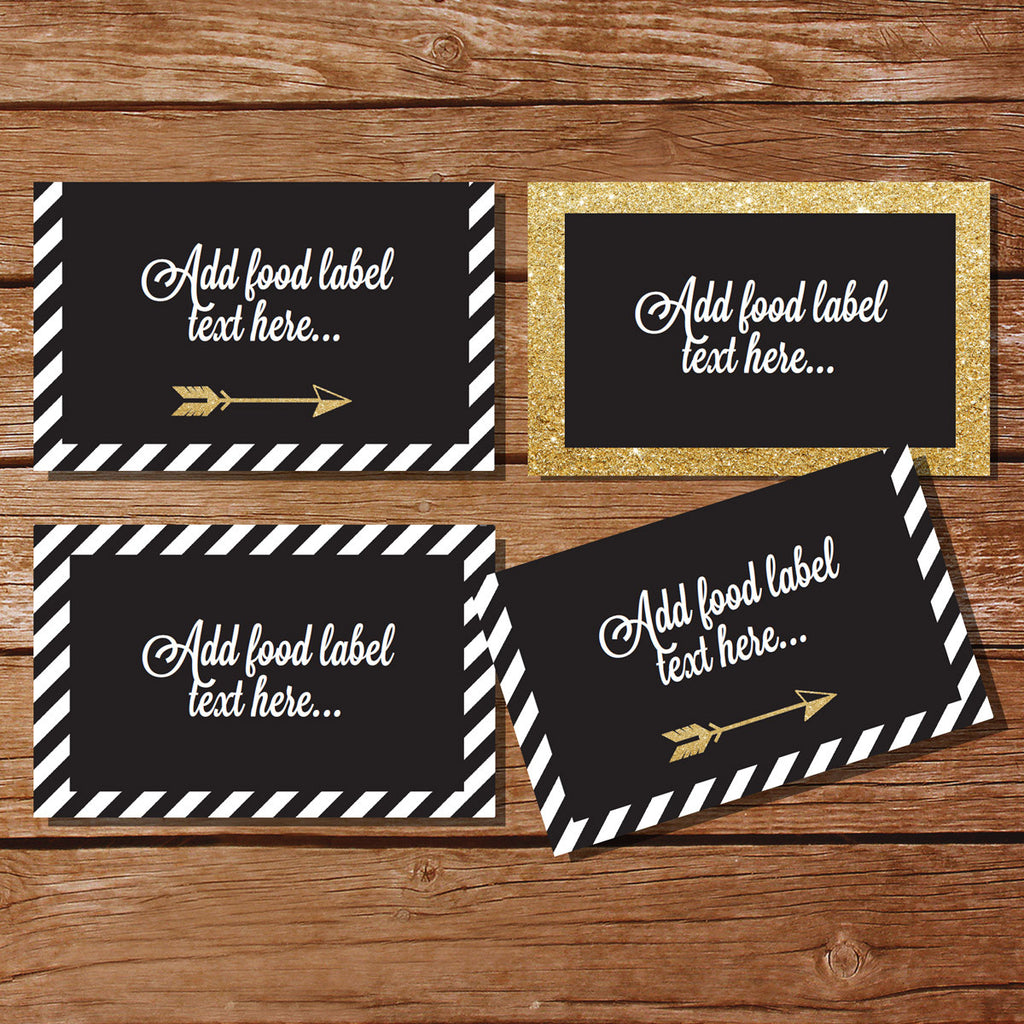 Black and Gold Tent Cards | Food Labels | Buffet Cards