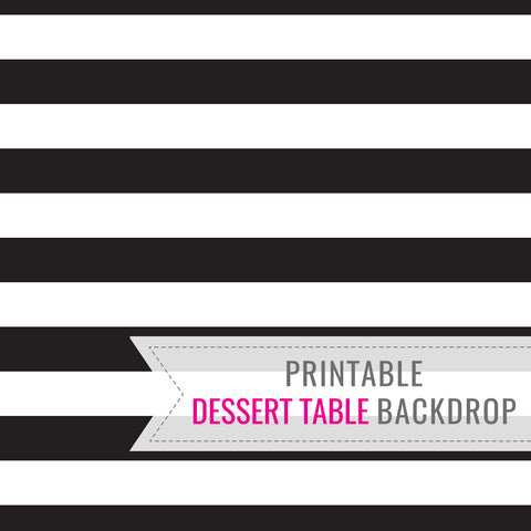 Black and White Stripe Party Table Backdrop