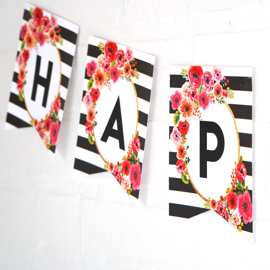 Black and White Stripe Floral Happy Birthday Banner