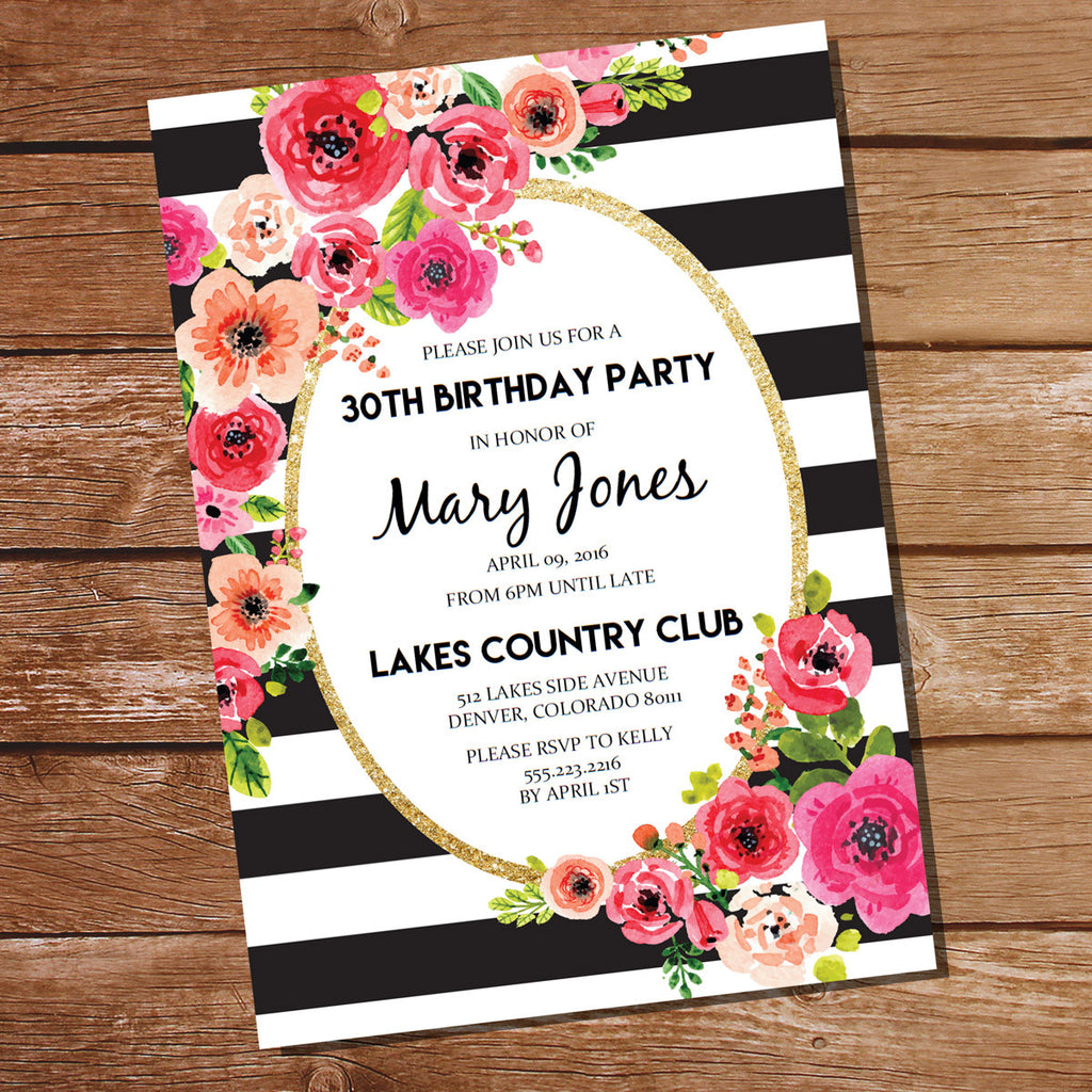Black and White Stripe Floral Watercolor Invitation – Sunshine Parties