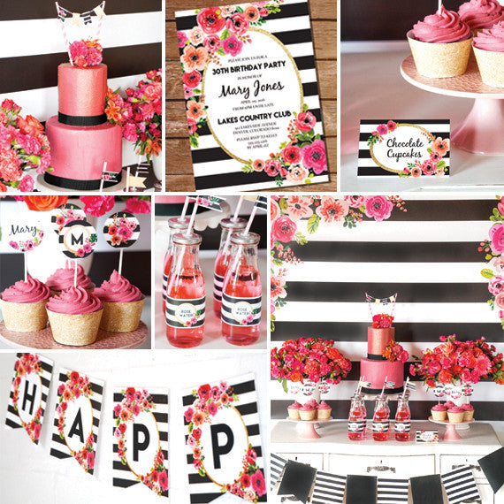 Black and White Stripe Floral Party Decorations
