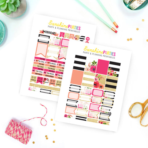 Black, White & Gold Glitter Planner Stickers | Organizer Planner Stickers