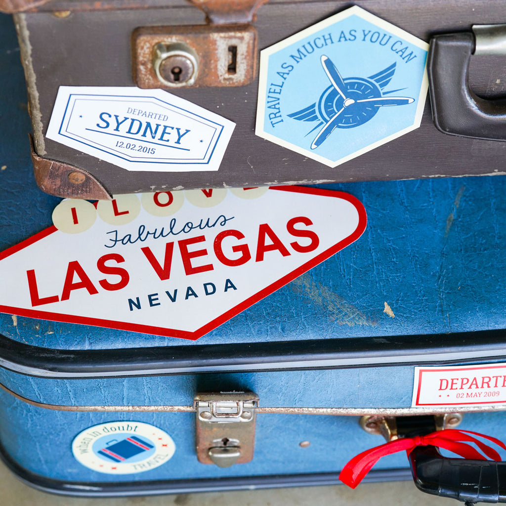 Luggage Stickers Vintage Blimp and Biplane Party Decorations