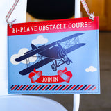 Blimp and Biplane airplane party activity signs