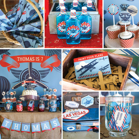 vintage aviation party decor