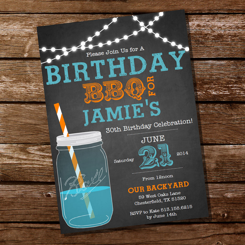 Chalkboard Blue and Orange BBQ Birthday Invitation