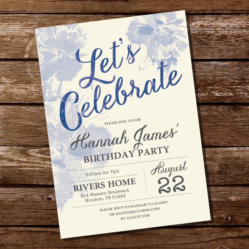 Blue Watercolor Birthday Party Invitation Sunshine Parties