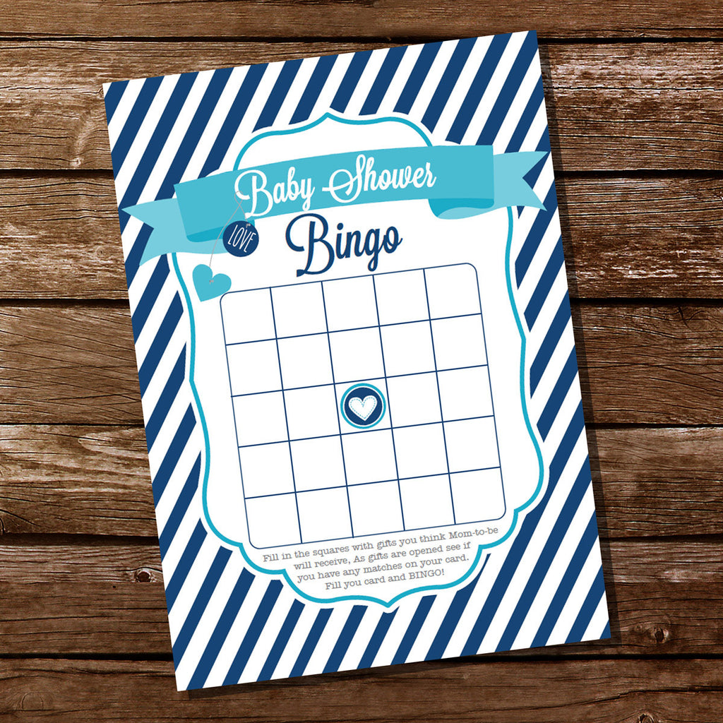Boy Nautical Baby Shower Party Game | Baby Shower Party Game Baby Bingo