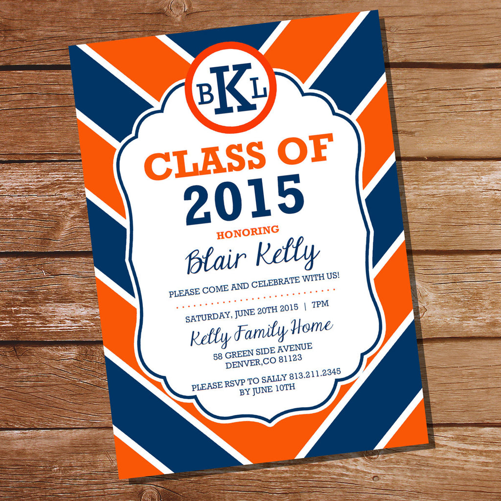 Preppy Navy Blue And Orange Graduation Invitation