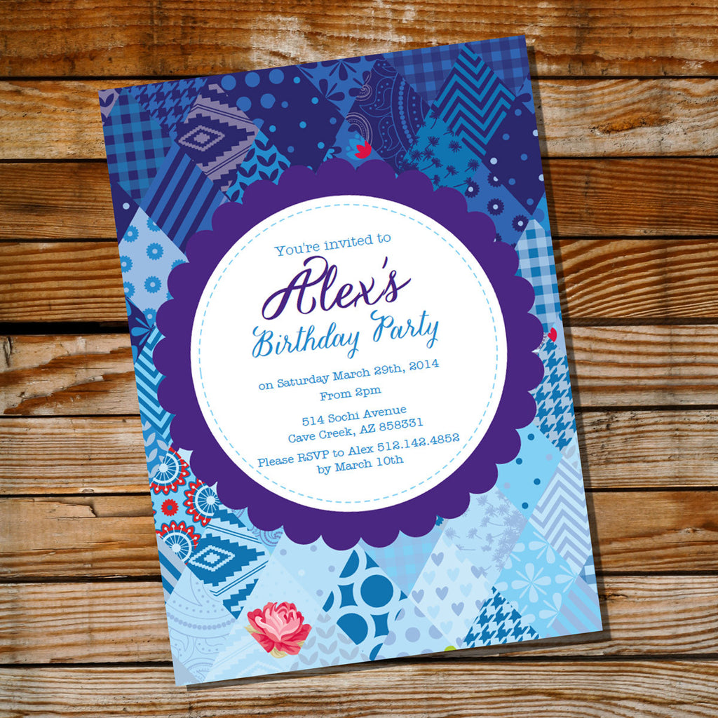 Blue Shabby Chic Quilt Birthday Invitation