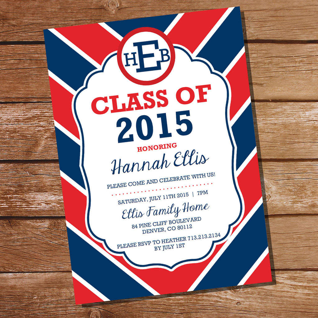 Preppy Navy Blue And Red Graduation Invitation