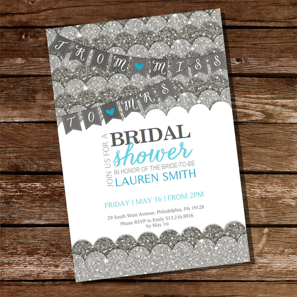Silver Glitter Bridal Shower Invitation | Bachelorette Invitation