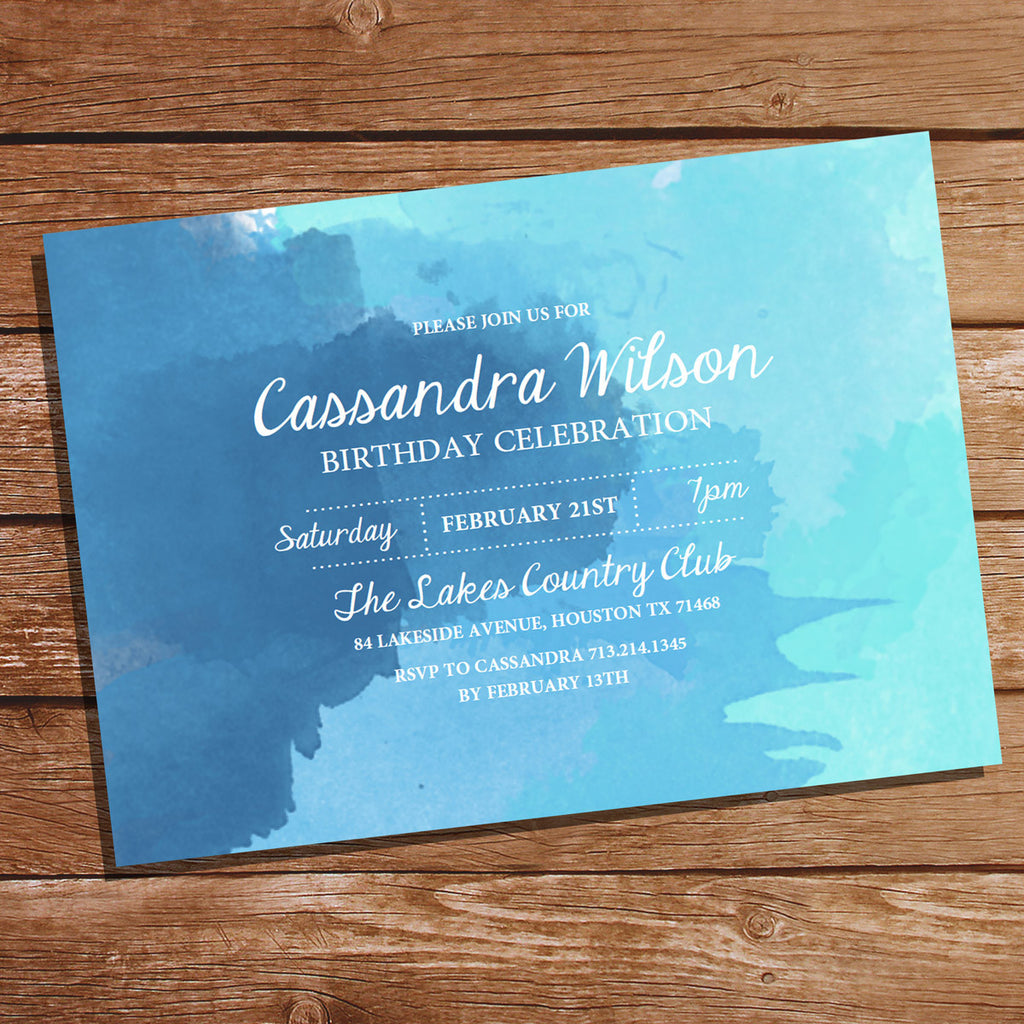 Blue Watercolor Birthday Invitation