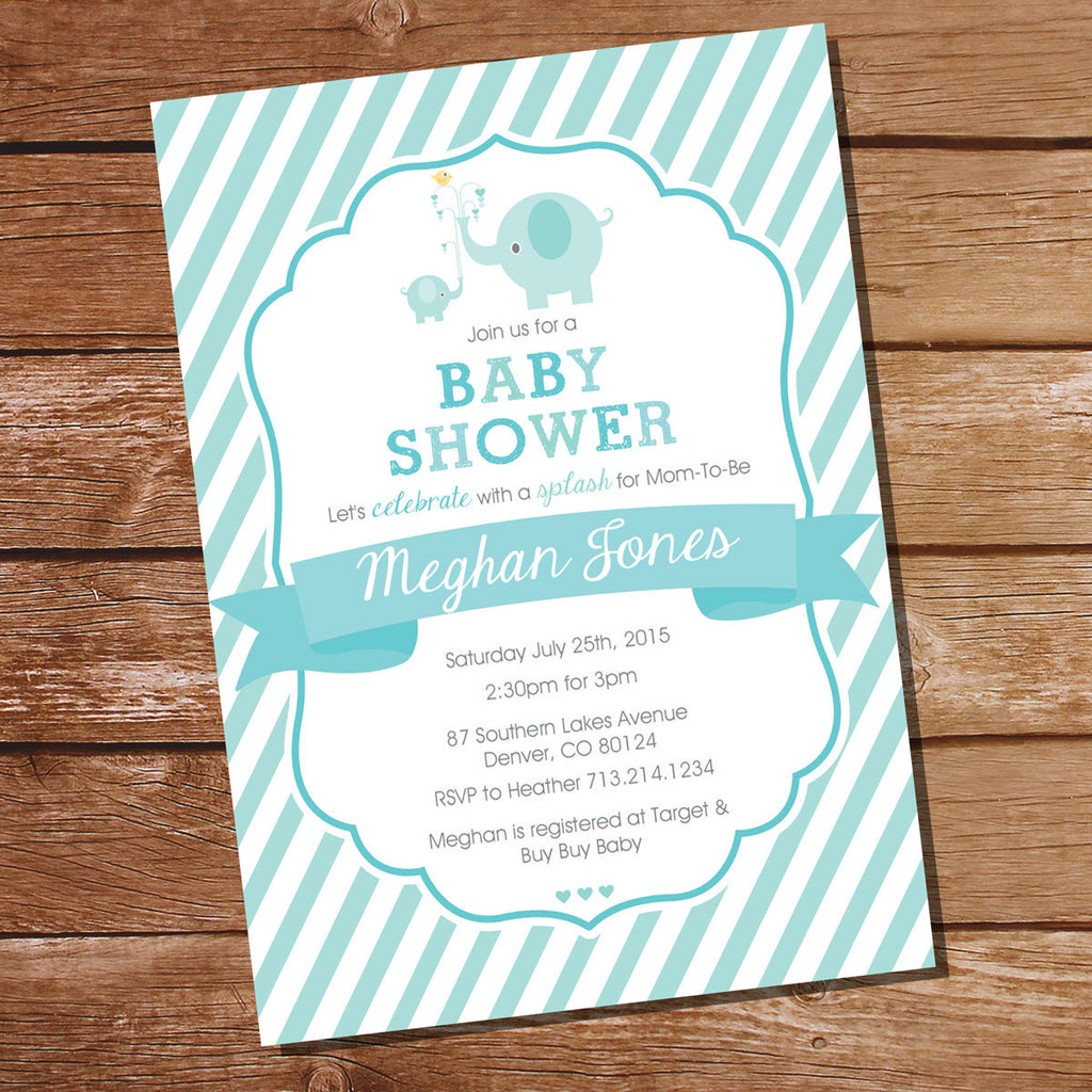 Aqua Blue Elephant Baby Boy Shower Invitation | Instant Download ...