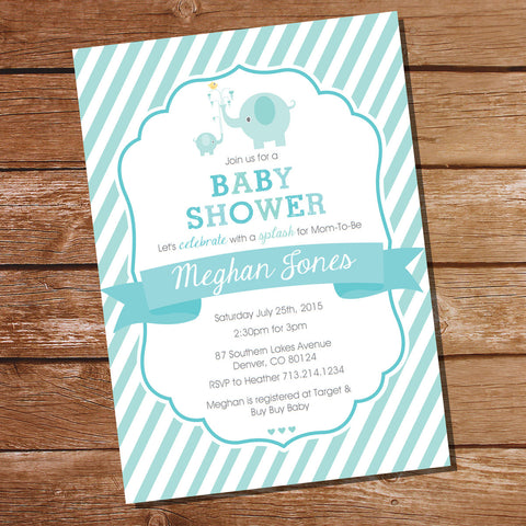 Aqua Blue Elephant Baby Boy Shower Invitation