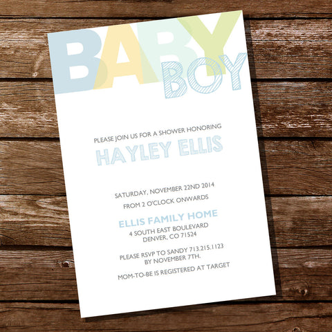 Boy Pastels Baby Shower Invitation