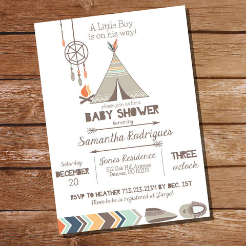 Baby Boy Tribal Shower Invitation