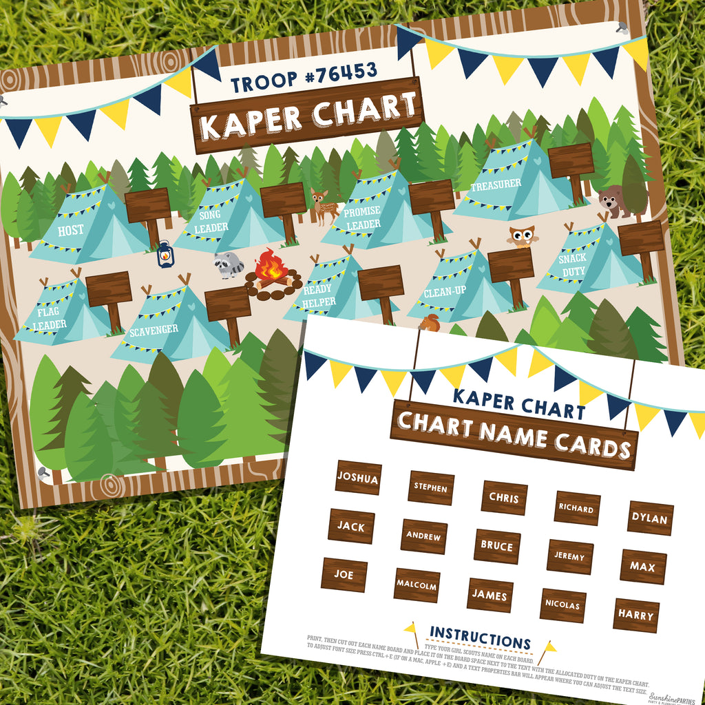 Boy Scout Kaper Chart and Name Cards