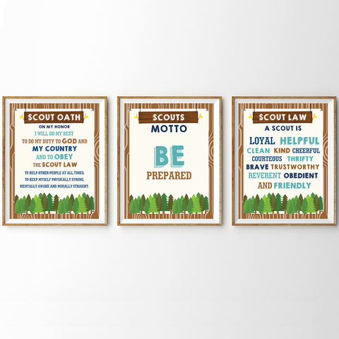 Boy Scout Oath, Motto and Law Poster Set