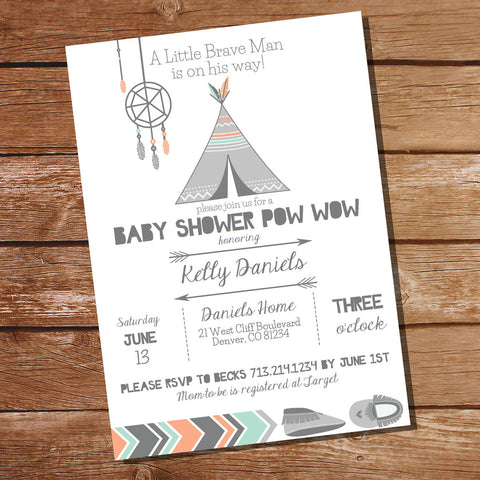 Tribal Baby Shower Party Invitation | Tribal Boy Baby Shower Invitation