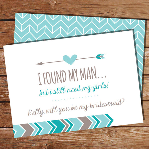 Teal Bridesmaid Invitation Card